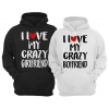 Bluzy Dla Par z kapturem I Love My Crazy Boyfriend I Love My Crazy Girlfriend